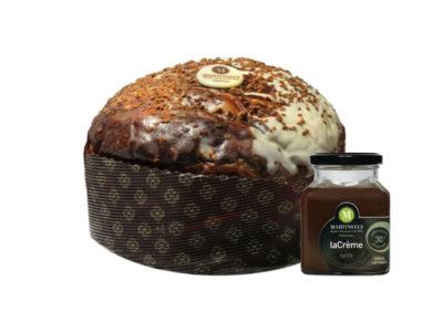 Panettone con Gocce di Cioccolato con glassatura bicolore cioccolato bianco/caffè + Crema Spalmabile al Caffè Sublime