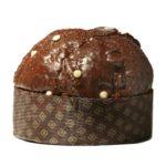 Panettone con gocce di cioccolato glassato al cioccolato fondente