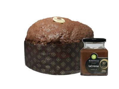 Panettone con gocce di cioccolato glassa gianduja con granella di nocciole + Crema Spalmabile Gianduja