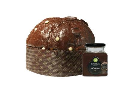 Panettone con gocce di cioccolato glassato al cioccolato fondente + Crema Spalmabile al Rum